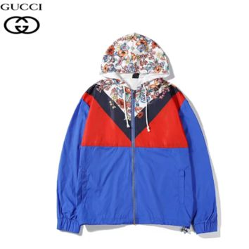 GUCCI New fashion floral leaf contrast color hooded long sleeve windbreaker Blue