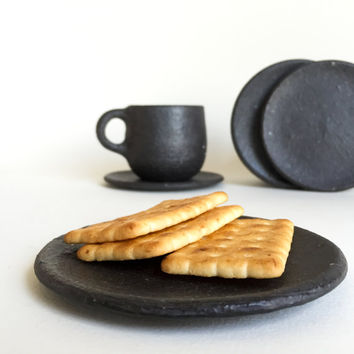 BLACK SMALL PLATE, ceramic, pottery, handmade, rustic, coffee, tea, coaster, dish