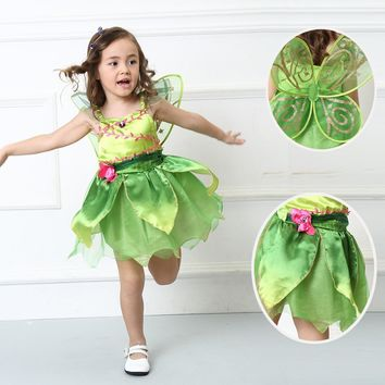 (include wing) Tinkerbell princess Woodland Fairy Dress Halloween Cosplay Costume for Kids Fairy Girls Green Dress with wing