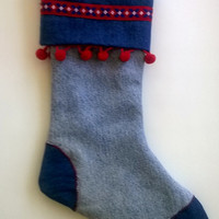 Upcycled Christmas Stocking, Denim with Red Trim