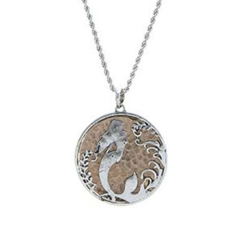 Swimming Mermaid Disc Necklace