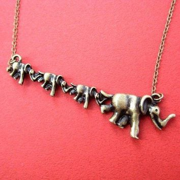 Elephant Parade Pendant Necklace in Bronze | Animal Jewelry