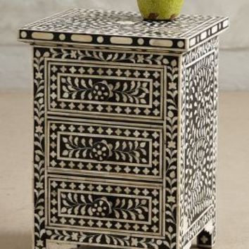 Bone Inlay Nightstand by Anthropologie in Black & White Size: One Size Furniture