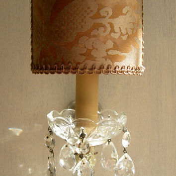 Antique Italian Maria Theresa Crystal Wall Sconce with Fortuny Clip On Lamp Shade - Handmade in Italy