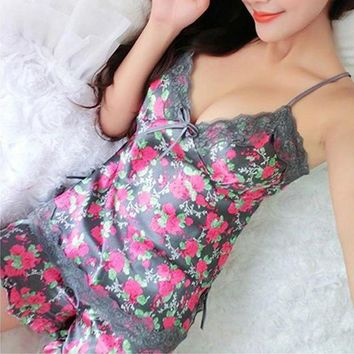 LMFUS4 Sexy Cute Sweet Women Silk Lace Floral Braded Robe Sleepwear Lingerie Nightdress Babydoll Pajamas Set V-Neck + Pyjama Trousers