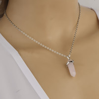 Glass Crystal Short Diamond Pendant Necklace