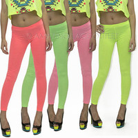 Neon Yoga Hot Pants Cotton Capri Leggings Neon Dance Athletic Fashion Apparel