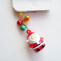 Santa Claus is Coming to Town - Christmas Santa Bell Charms Iphone5/4/3 Headphone Plug/Dust Plug  - Ready to Ship Cellphone Accessories