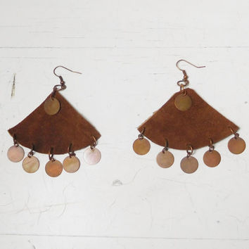 Brown Leather Earrings Large with Copper Disc Charms Handmade Bohemian Hippie Boho Rustic Sundance Style Medieval Jewelry