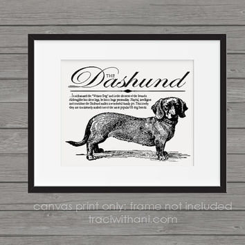 Dashund (Wiener Dog) Storybook Style Canvas Print: Dog, Wall Art, Rustic, Vintage, Antique, Decor, Artwork, DIY, Breed, Gift, Toy