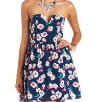 Strapless Floral Print Skater Dress by Charlotte Russe - Navy Combo