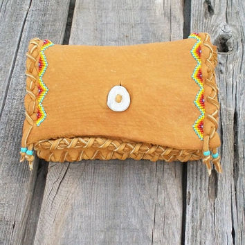 Beaded leather clutch   Buckskin leather clutch  Soft leather wallet  Beaded tobacco pouch  Handmade bag