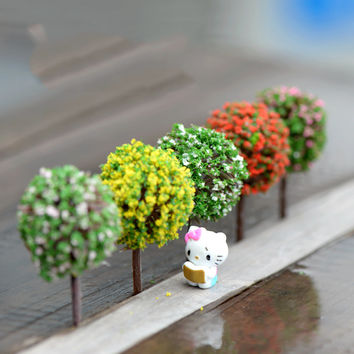 Mini Garden Decorations Resin Tree Fairy Garden Miniatures Trees Garden Decoration Terrarium Figurines Miniature Fairy Figurines