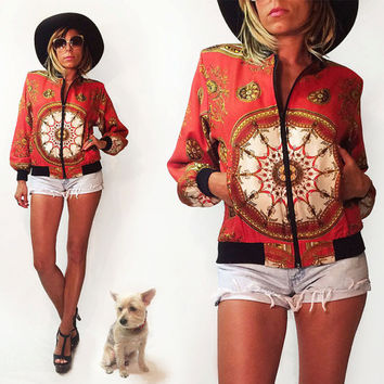 Vintage 1980's Bohemian Mandala Bomber Scarf Jacket || Bellissima for Fifth Avenue Italy || Small