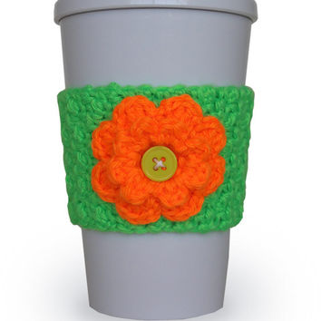 Neon Crocheted Flower Cup Cozy in Neon Orange and Neon Green
