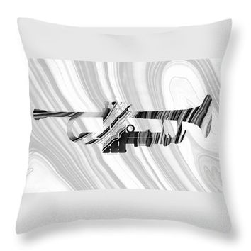 Marbled Music Art - Trumpet - Sharon Cummings Throw Pillow