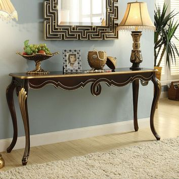 Shiloh collection bronze finish wood hall console entry table