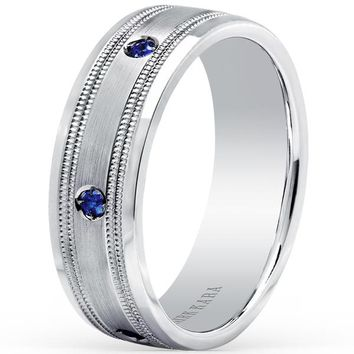 "Kirk Kara ""Artin"" Blue Sapphire Bezel Set Men's Wedding Band"