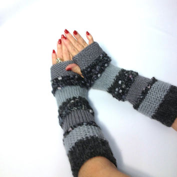 Hand Knit Gloves Arm Warmers Fingerless Gloves Variegated Grays Christmas In July