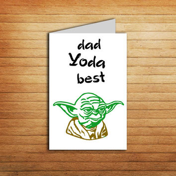 Father's Day Star Wars Printable Card dad Yoda best Dad ever card father's day gift Yoda card Darth Vader Card Father Card Funny card DIY
