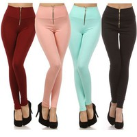 High Waisted Tight Skinny Fitted Stretch Zipper Leggings Pants USA Made Fashion