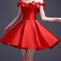 Red Bowknot Off Shoulder Lace Up Back Homecoming Dress