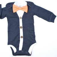 Navy Cardigan and Bow Tie Set - Grey Gingham or You Pick - cardigan Onesuits