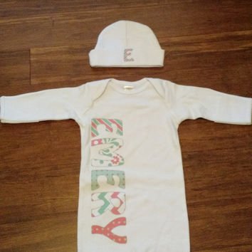Girl's or Boy's Personalized Newborn gown / Coming home Outfit with Matching hat