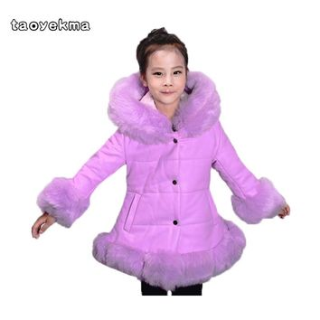 Winter Fur Warm Sport Down&Parkas For Girls Padded Coats Thicken PU leather patchwork fox faux fur collar jacket Outerwear W57