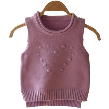 2016 Autumn Children Clothing High Quality love pattern sweater vest cute baby  girls O-Neck Knitted beautiful sweater Pullover