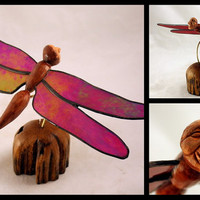 Dragonfly Man Wood Carving with Stained Glass Wings Hand Carved By Mike Berlin