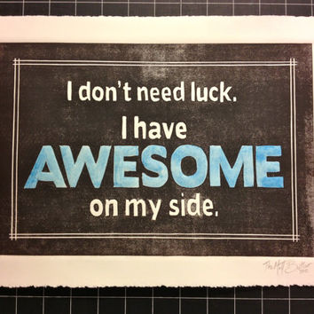 Blue AWESOME linocut print poster