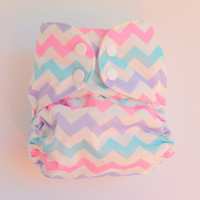 Pastel Chevron OS Pocket Diaper, Waterproof Cover, One Size Nappy, WAHM, Baby Shower Gift, Boutique