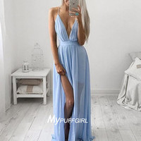 Deep V Neck Backless Chiffon Long Party Dress With Spaghetti Straps