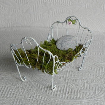 Fairy Bed miniature for fairy garden furniture accessories shabby chic white hand painted