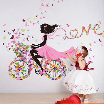 Personality Fairies Girl Butterfly Flowers Art Decal Wall Stickers For Home Decor DIY Mural Kids Rooms Wall Decoration