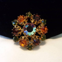 Austria Star Pin Olivine Orange Brown Glass Rhinestone Gold Plate Vintage Brooch