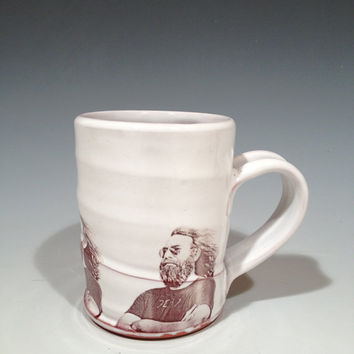Handmade mug featuring Jerry Garcia of the Grateful Dead.