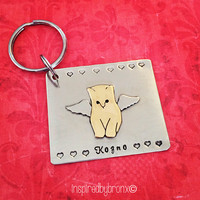 Custom Pet Memorial silhouette Keyring, Personalized pet keychain, Pet Keyring, Bulldog, cat, dog, Hand Stamped Pet Angel