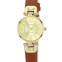 Anne Klein Ladies Tan and Gold Mini Lug Watch