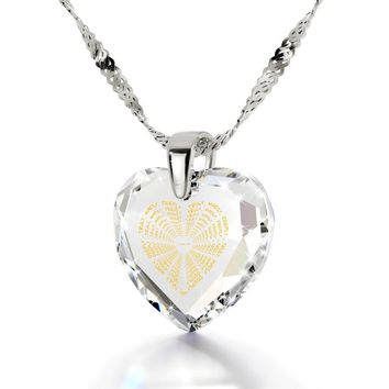 """""""I Love You Truly, Madly, Deeply"""", 925 Sterling Silver Necklace, Cubic Zirconia"""