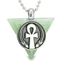 Amulet Ankh Egyptian Powers Life Pyramid Energies Green Aventurine Trinity Lucky Pendant Necklace