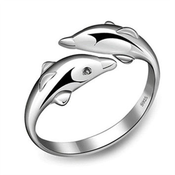 Sterling Silver Double Dolphin Opening Adjustable Ring