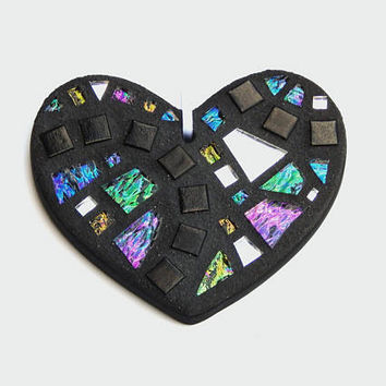 Mosaic Ornament, Heart, Black + Textured Iridescent Glass + Silver Mirror, Handmade Stained Glass Mosaic Heart Ornament