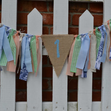 Customize your own 1st birthday decor High Chair fabric banner with #1 with a TRIANGLE burlap birthday decor