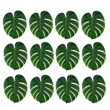 12pcs Artificial Tropical Palm Leaves for Hawaii Luau Party Decorations Beach Theme Wedding Table Decoration Accessories