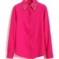Diamante Collar Shirt with Long Sleeves