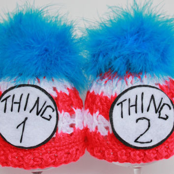 Crochet   Thing one and Thing two twin beanie hats set,boy or girl, handmade, boa feathers, 0-3 months
