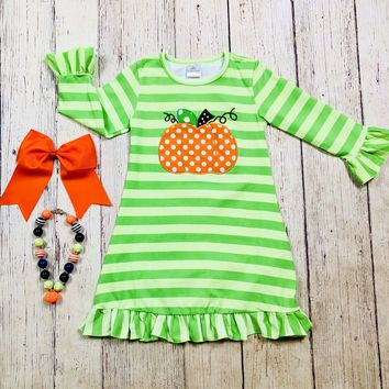 RTS Green Stripe Pumpkin Dress D2