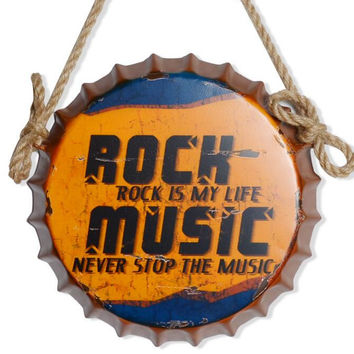 35CM Rock Music Vintage Tin Signs Bottle Cap Iron Painting Bar Pub Wall Decor